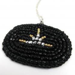 SUNSET. black gold and silver faceted bead embroidered pendant on silver delicate chain
